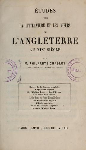 Études sur la littérature et les moeurs de l'Angleterre au 19e siècle