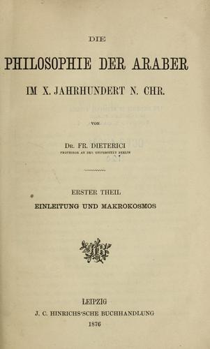 Download Die philosophie der Araber im X. jahrhundert n. Chr.