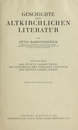 Download Geschichte der altkirchlichen literatur