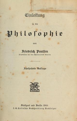 Einleitung in die philosophie