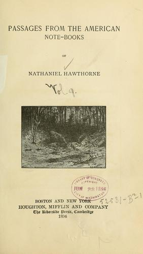 Download Passages from the American note-books of Nathaniel Hawthorne