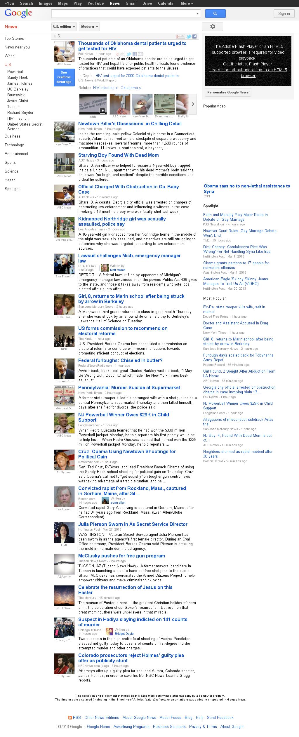Google News: U.S. at Friday March 29, 2013, 5:09 a.m. UTC
