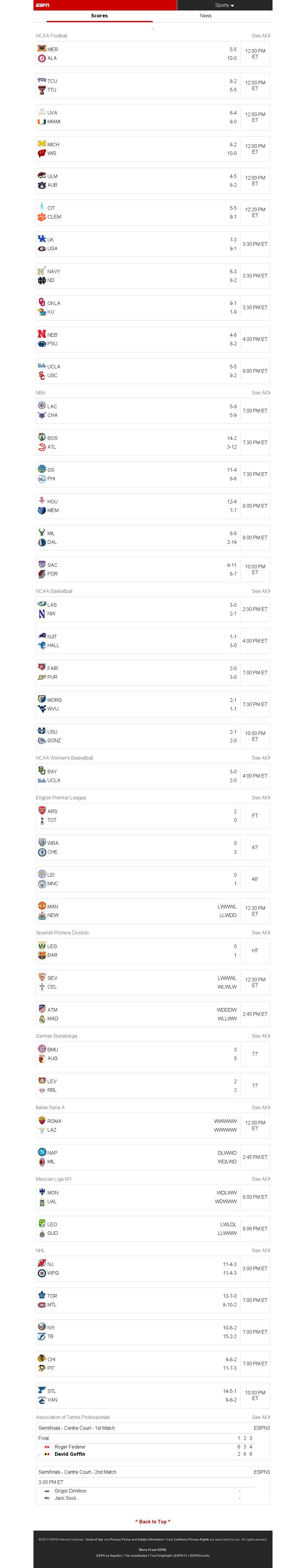 ESPN at Saturday Nov. 18, 2017, 4:06 p.m. UTC