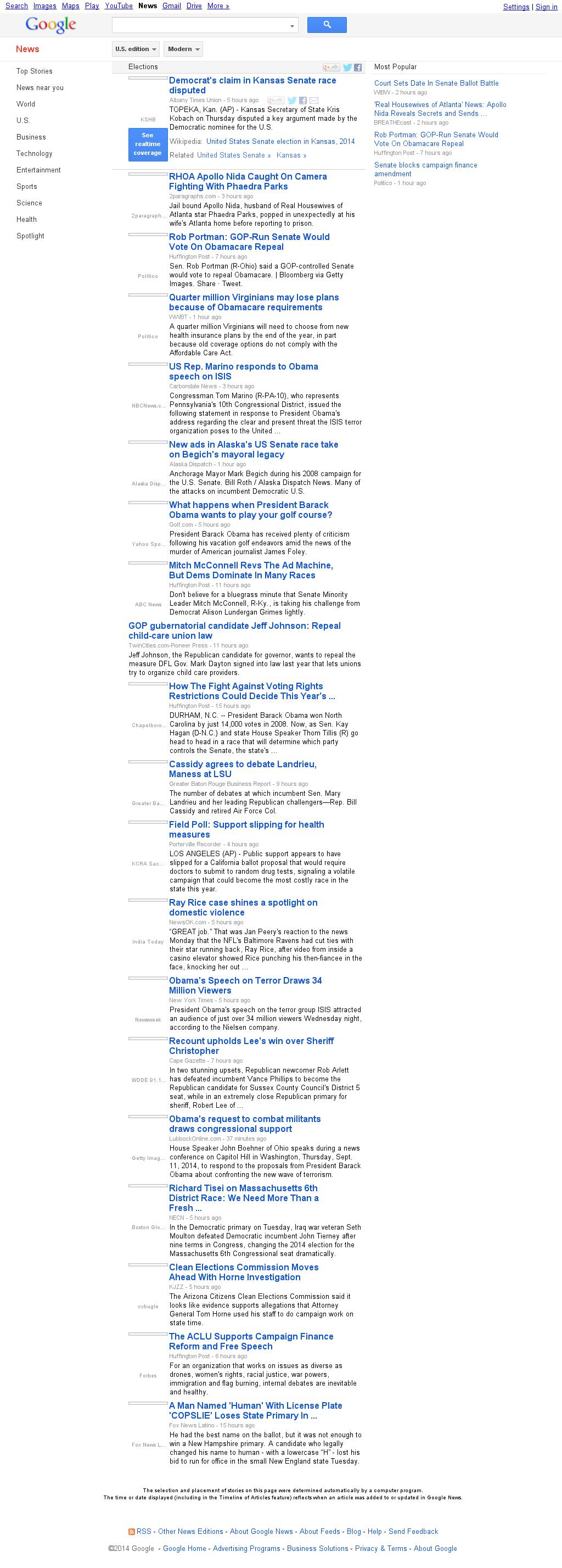 Google News: Elections at Friday Sept. 12, 2014, 6:07 a.m. UTC