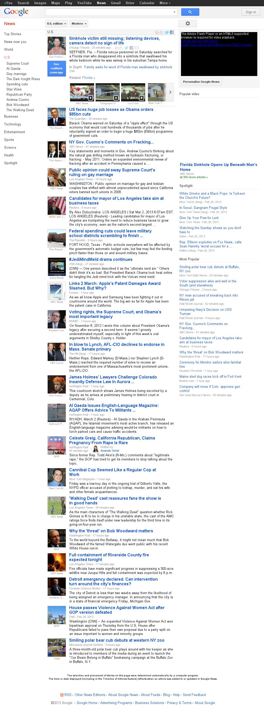 Google News: U.S. at Saturday March 2, 2013, 6:08 p.m. UTC