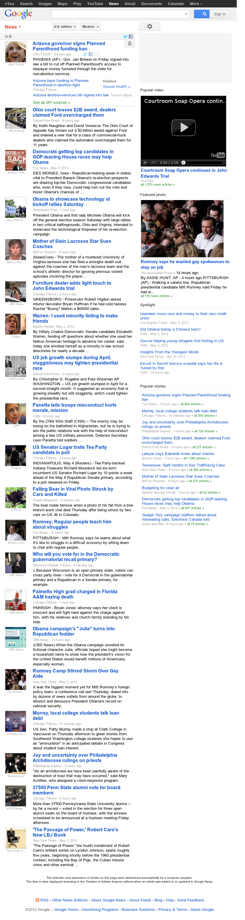 Google News: U.S. at Saturday May 5, 2012, 10:06 a.m. UTC