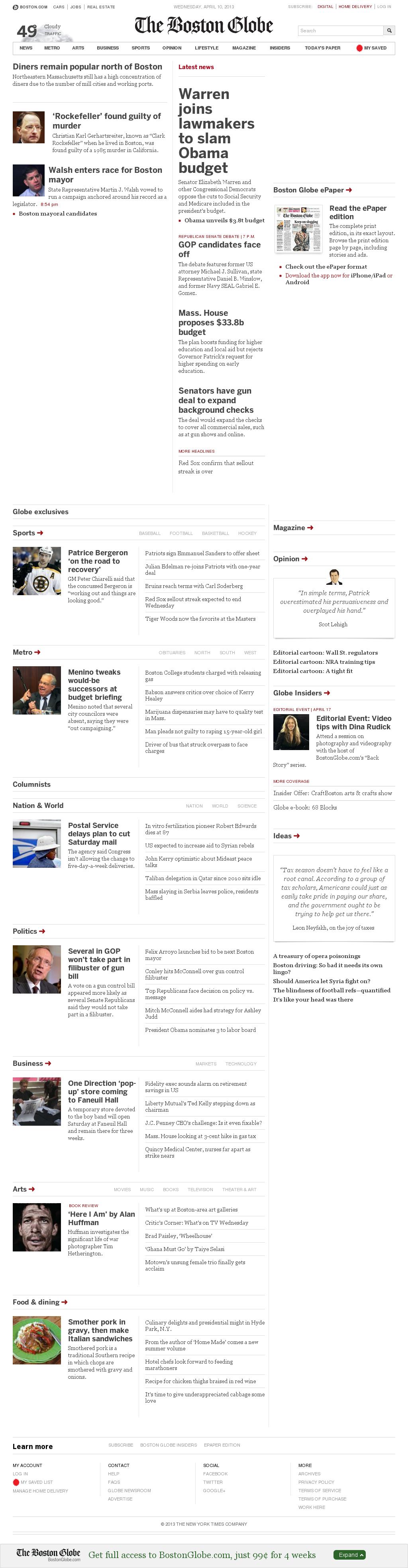The Boston Globe at Wednesday April 10, 2013, 11:02 p.m. UTC
