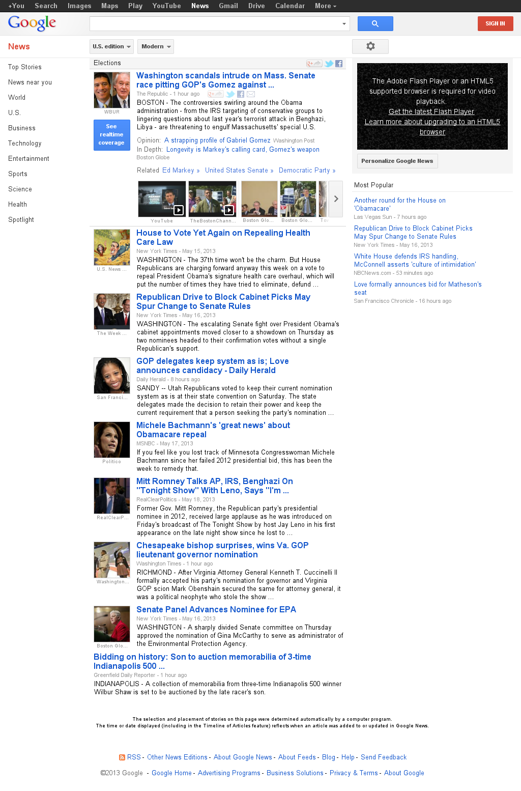 Google News: Elections at Sunday May 19, 2013, 3:07 p.m. UTC