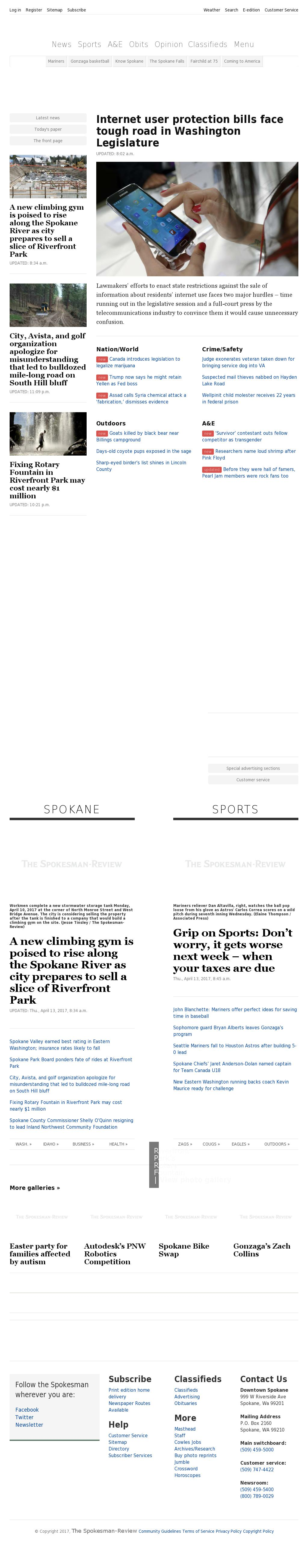 The (Spokane) Spokesman-Review at Thursday April 13, 2017, 6:19 p.m. UTC