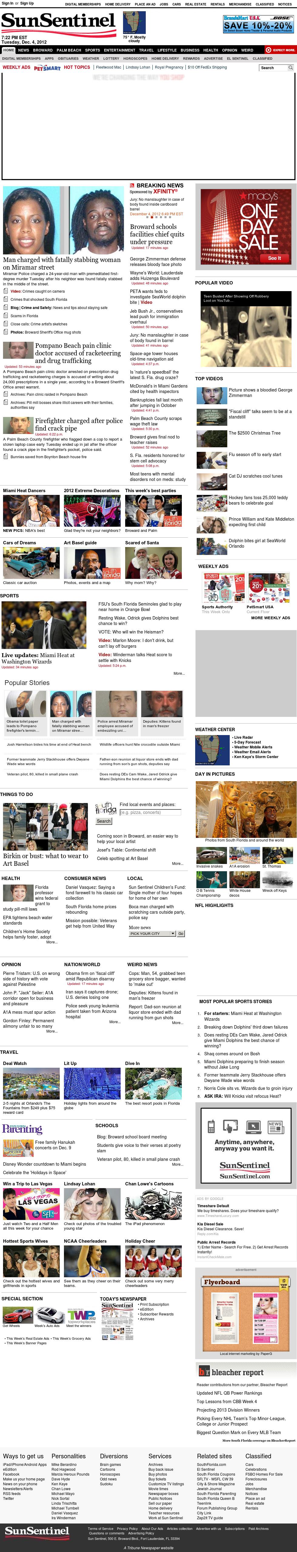 (Florida) Sun Sentinel at Wednesday Dec. 5, 2012, 12:30 a.m. UTC