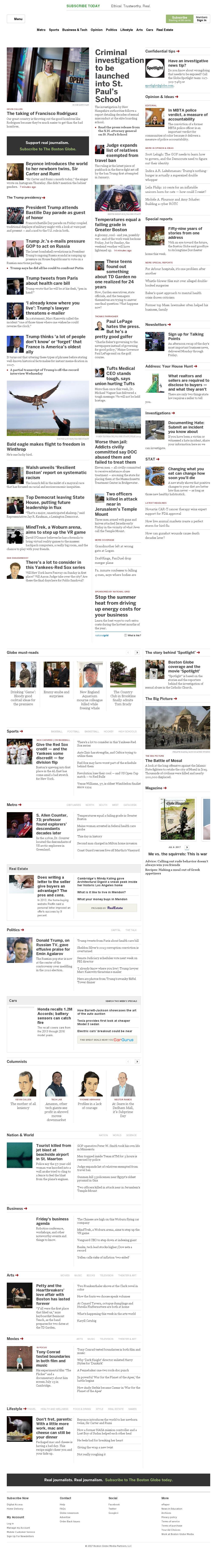 The Boston Globe at Friday July 14, 2017, 11:01 a.m. UTC