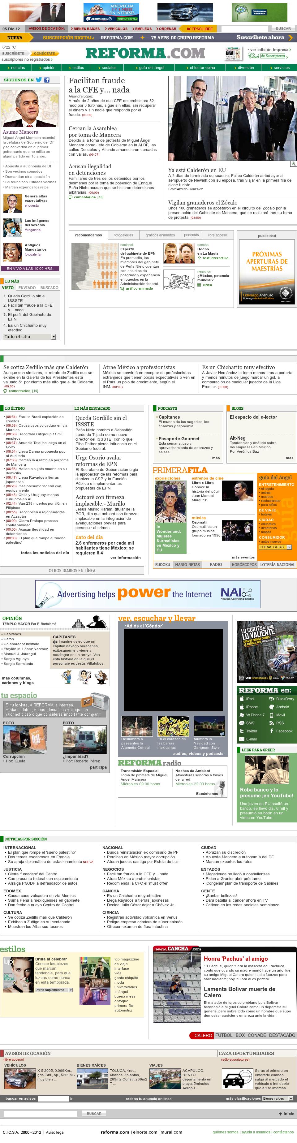 Reforma.com at Wednesday Dec. 5, 2012, 3:38 p.m. UTC