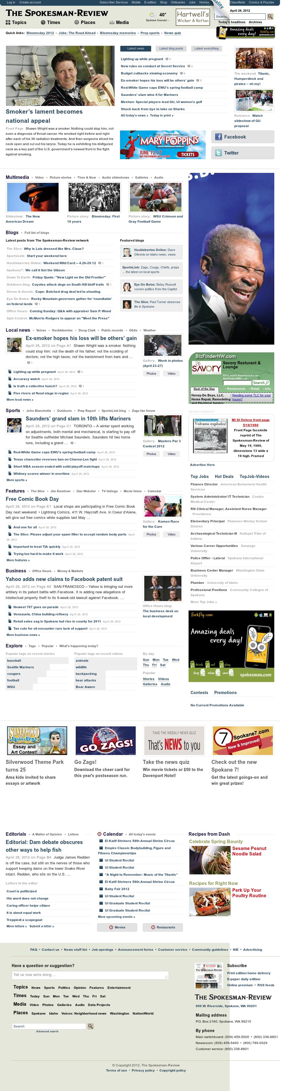 The (Spokane) Spokesman-Review at Saturday April 28, 2012, 3:31 p.m. UTC