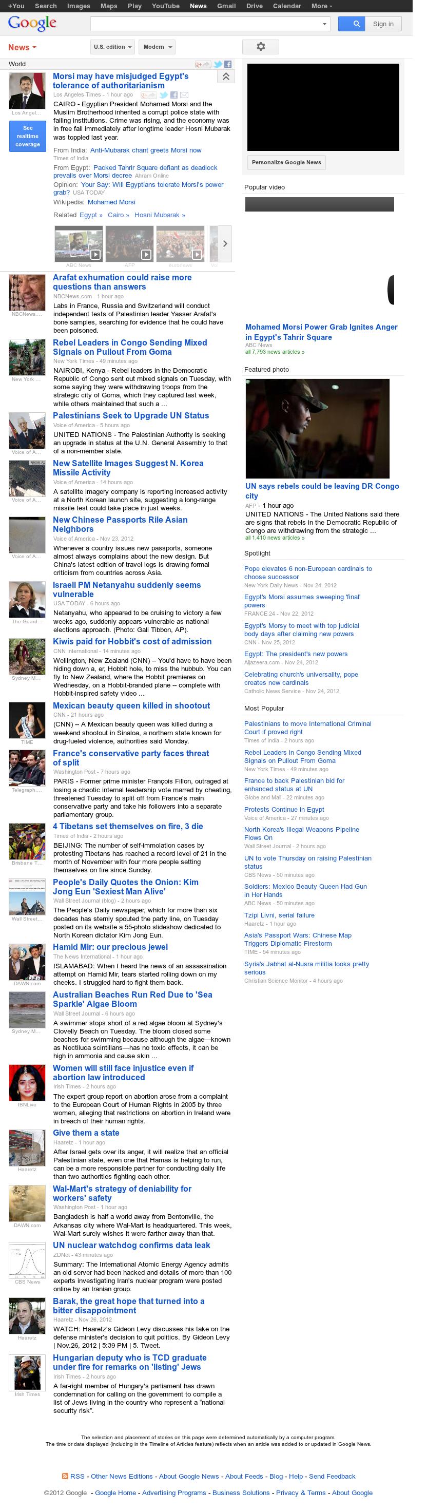 Google News: World at Wednesday Nov. 28, 2012, 3:16 a.m. UTC