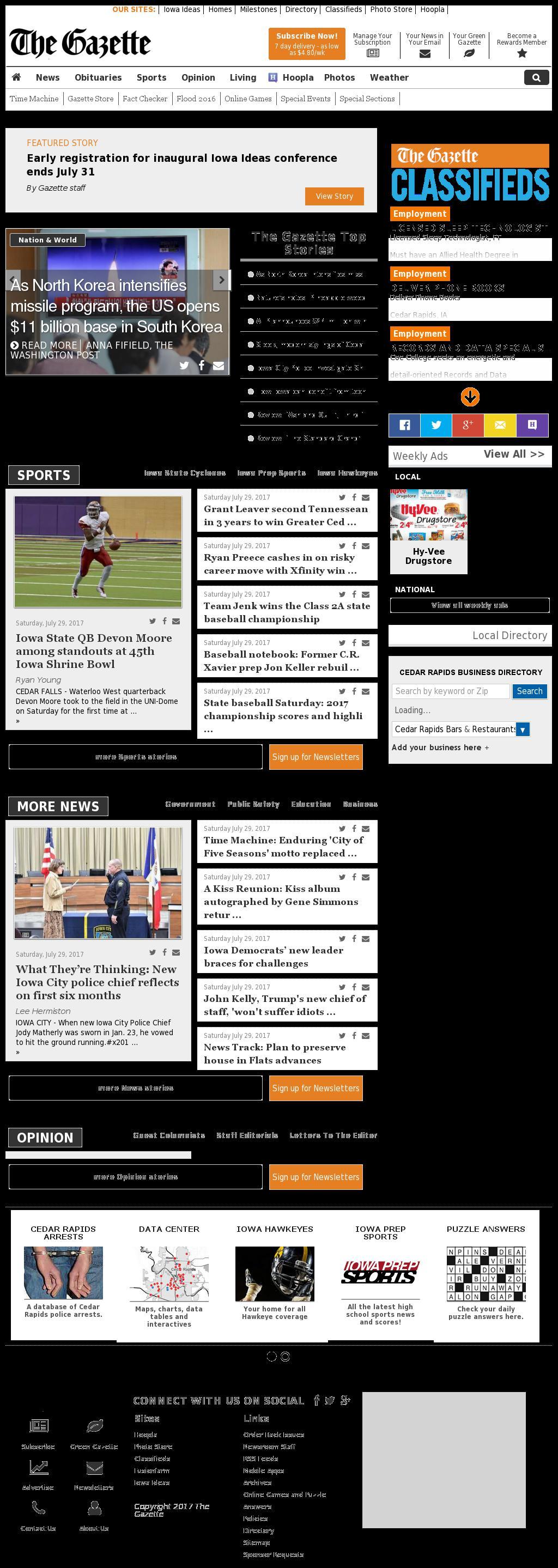 The (Cedar Rapids) Gazette at Sunday July 30, 2017, 7:06 a.m. UTC