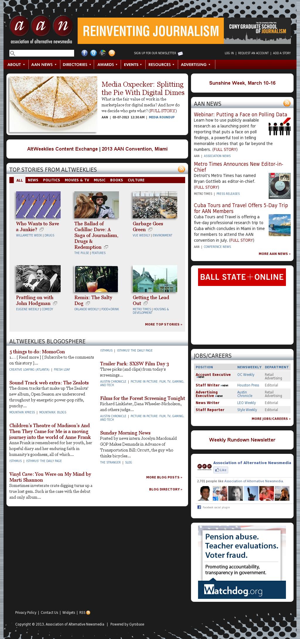 Association of Alternative Newsmedia at Sunday March 10, 2013, 7 p.m. UTC