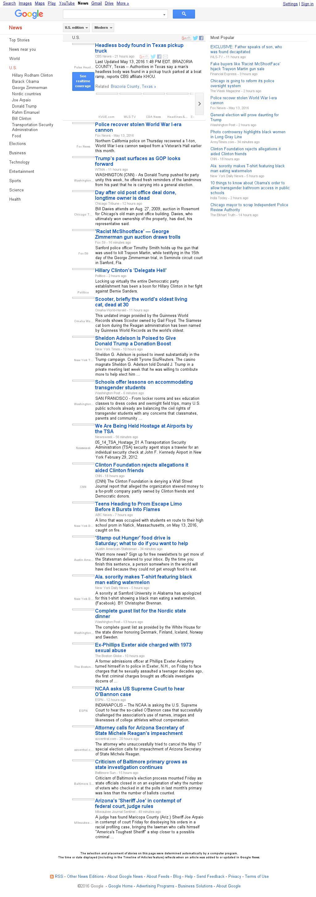 Google News: U.S. at Saturday May 14, 2016, 2:07 p.m. UTC