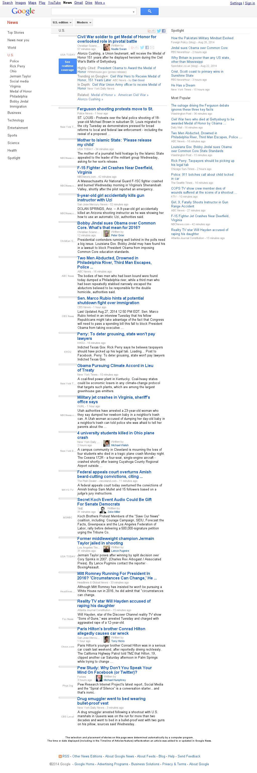 Google News: U.S. at Wednesday Aug. 27, 2014, 5:07 p.m. UTC