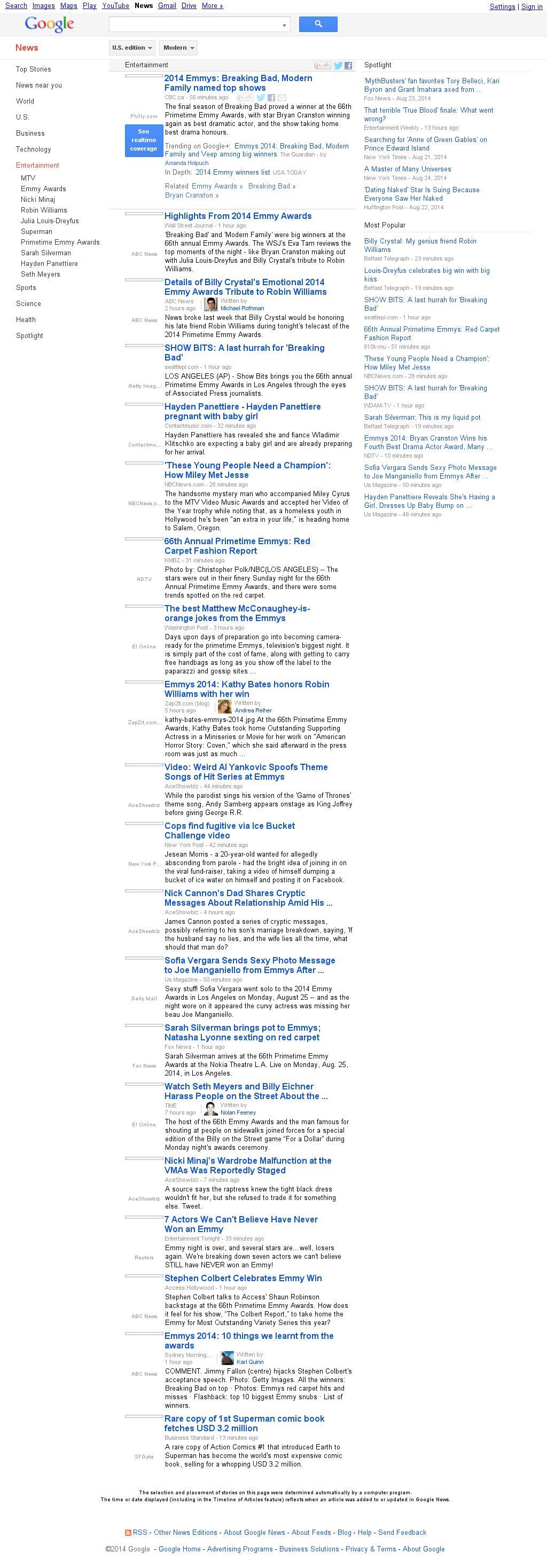 Google News: Entertainment at Tuesday Aug. 26, 2014, 10:06 a.m. UTC