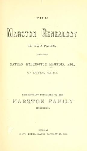 The Marston genealogy by Nathan Washington Marston